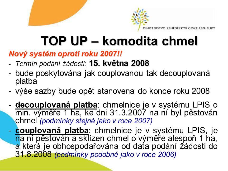 TOP UP – komodita chmel Nový systém oproti roku 2007!! Termín podání žádosti: 15. května 2008.