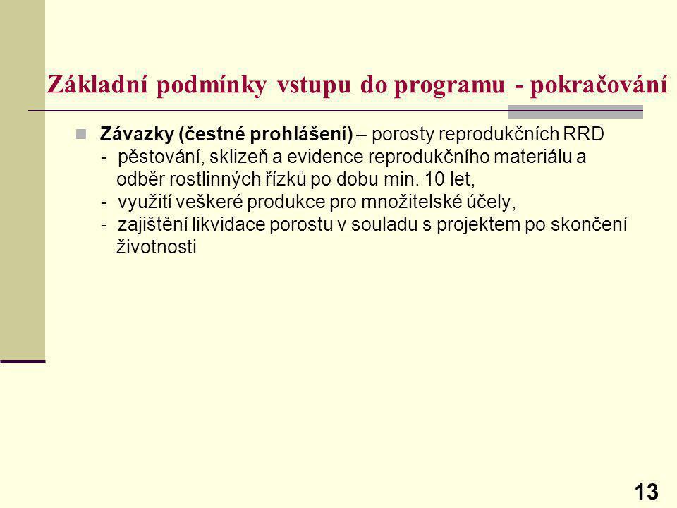 Základní podmínky vstupu do programu - pokračování