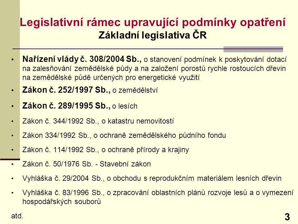 Legislativní rámec upravující podmínky opatření Základní legislativa ČR