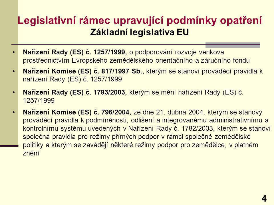 Legislativní rámec upravující podmínky opatření Základní legislativa EU