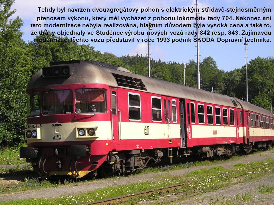 Tehdy byl navržen dvouagregátový pohon s elektrickým střídavě-stejnosměrným přenosem výkonu, který měl vycházet z pohonu lokomotiv řady 704.