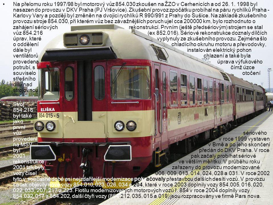 Na přelomu roku 1997/98 byl motorový vůz 854