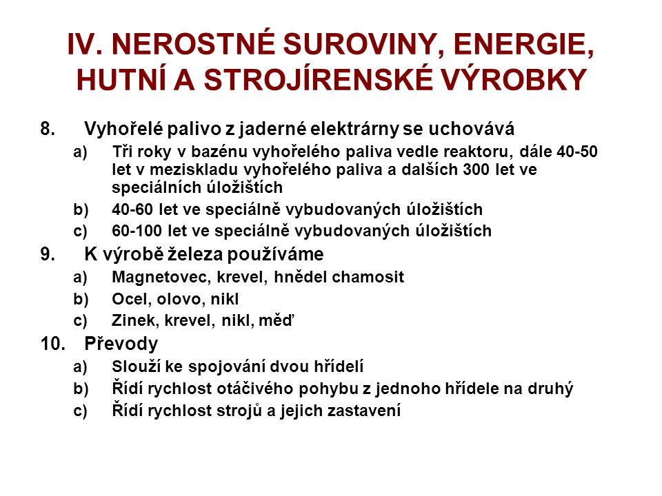 IV. NEROSTNÉ SUROVINY, ENERGIE, HUTNÍ A STROJÍRENSKÉ VÝROBKY