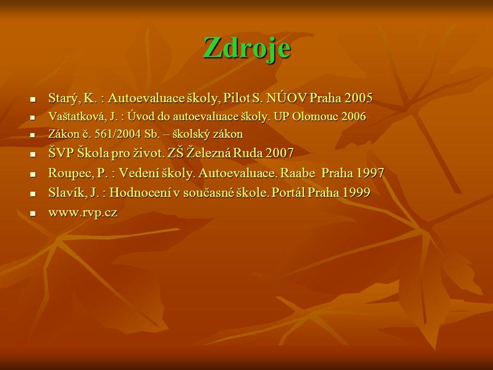 Zdroje Starý, K. : Autoevaluace školy, Pilot S. NÚOV Praha 2005