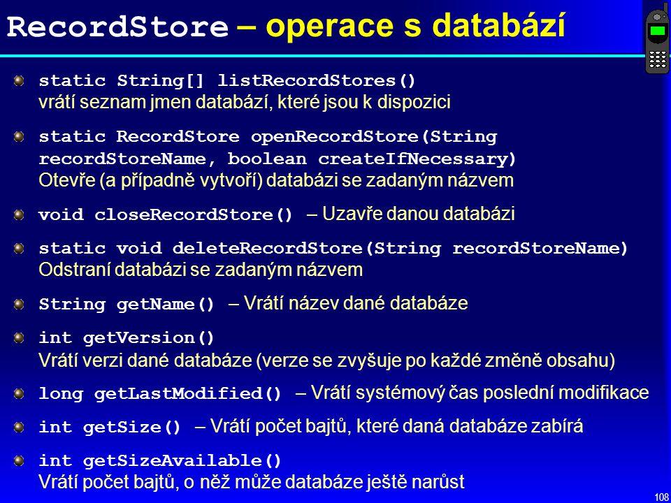 RecordStore – operace s databází