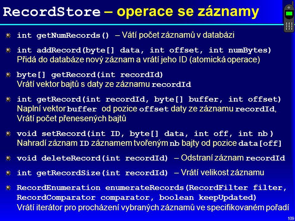 RecordStore – operace se záznamy