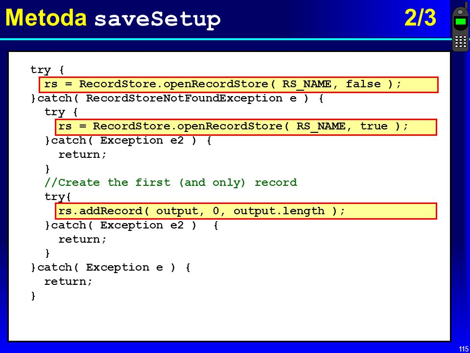Metoda saveSetup 2/3 try {