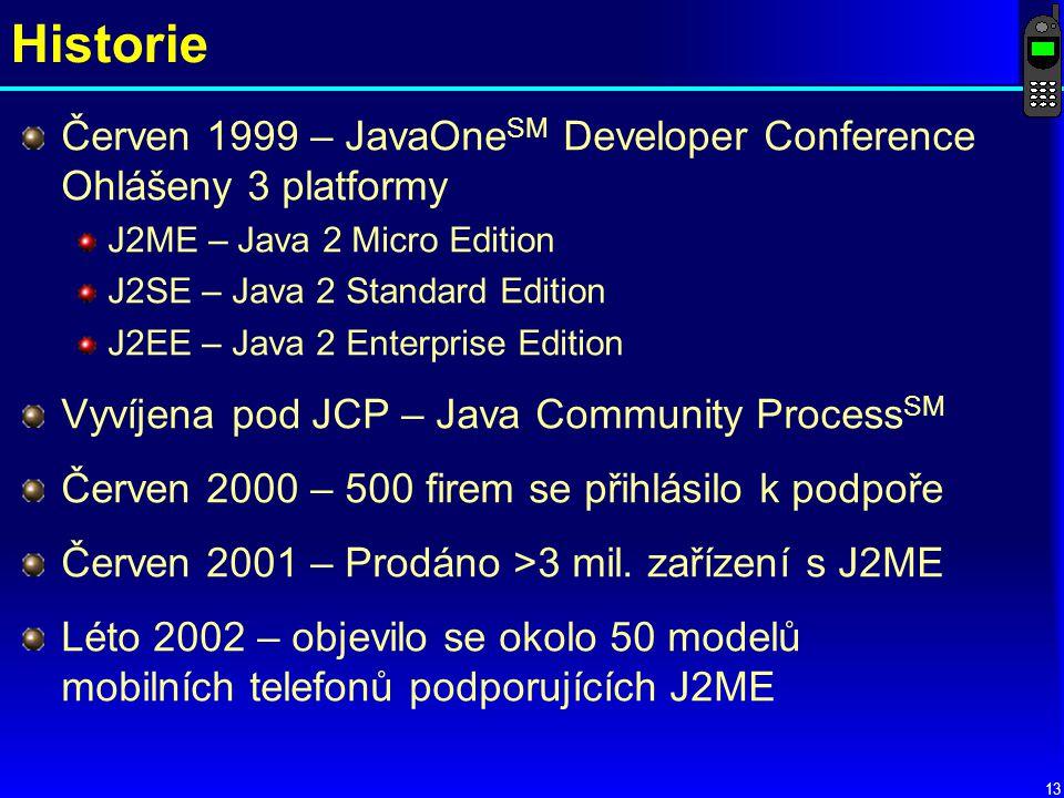 Historie Červen 1999 – JavaOneSM Developer Conference Ohlášeny 3 platformy. J2ME – Java 2 Micro Edition.