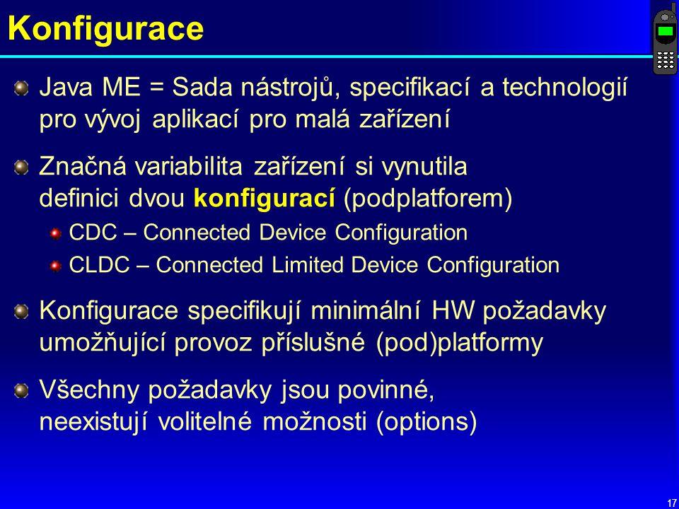 Konfigurace Java ME = Sada nástrojů, specifikací a technologií pro vývoj aplikací pro malá zařízení.