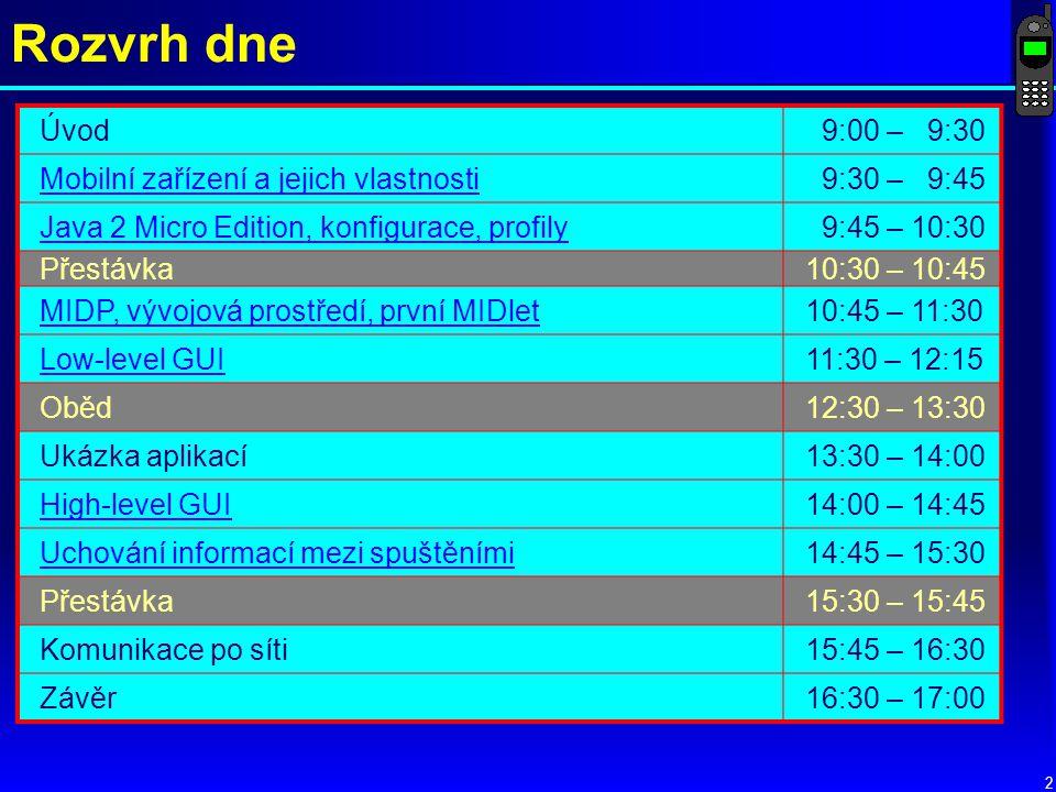 Rozvrh dne Úvod 9:00 – 9:30 Mobilní zařízení a jejich vlastnosti