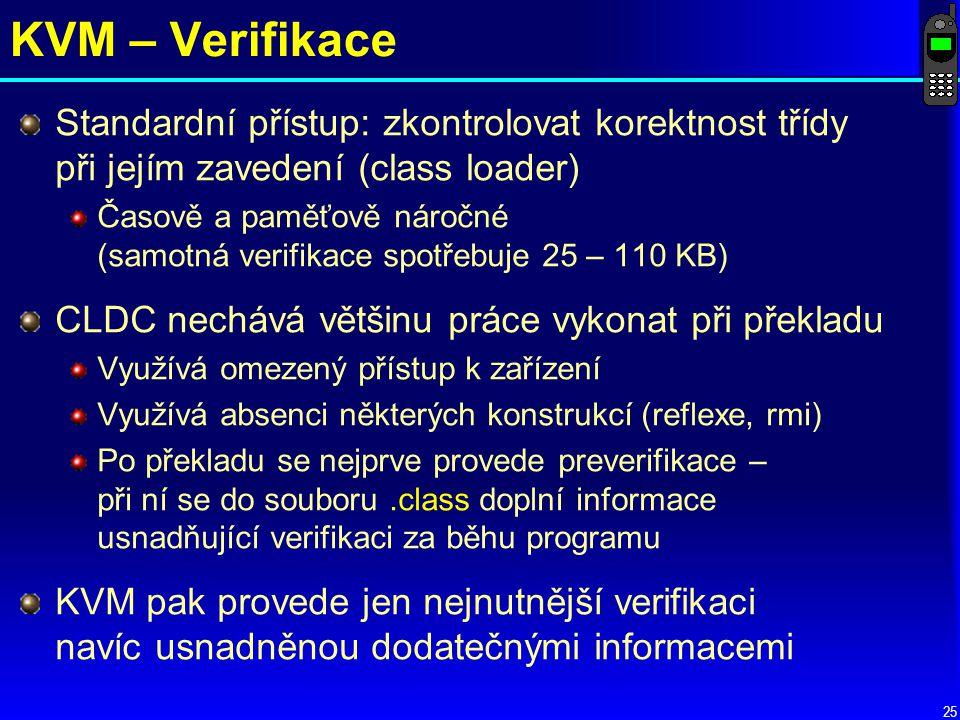 KVM – Verifikace Standardní přístup: zkontrolovat korektnost třídy při jejím zavedení (class loader)