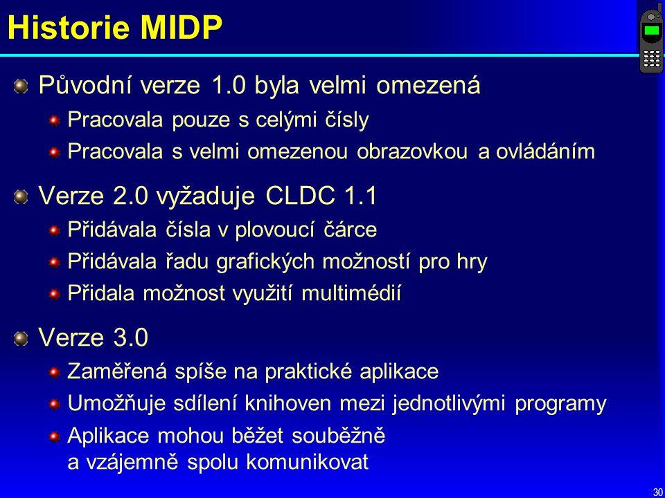 Historie MIDP Původní verze 1.0 byla velmi omezená