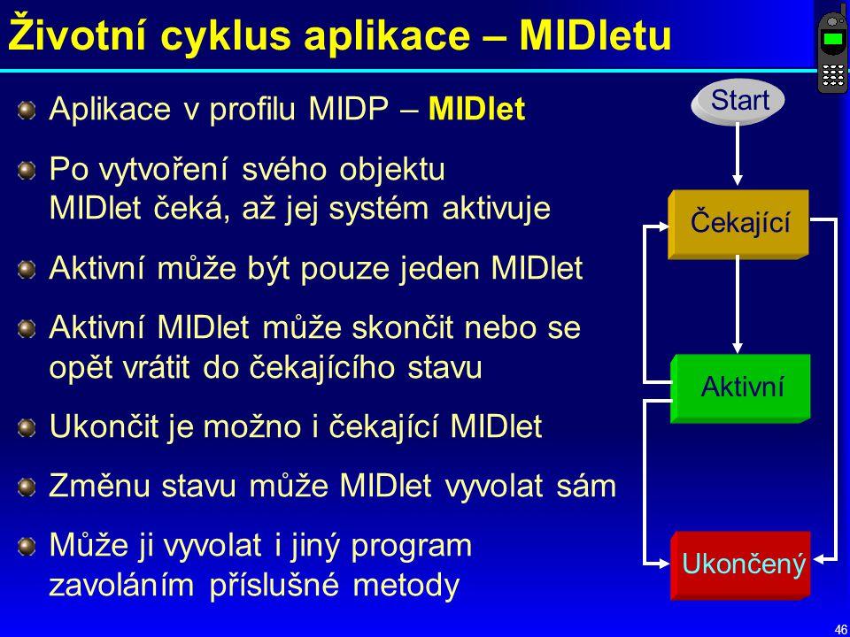 Životní cyklus aplikace – MIDletu