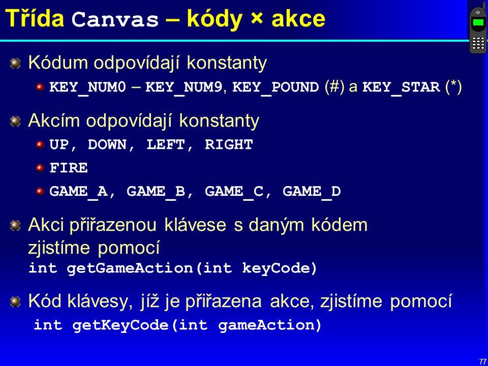 Třída Canvas – kódy × akce