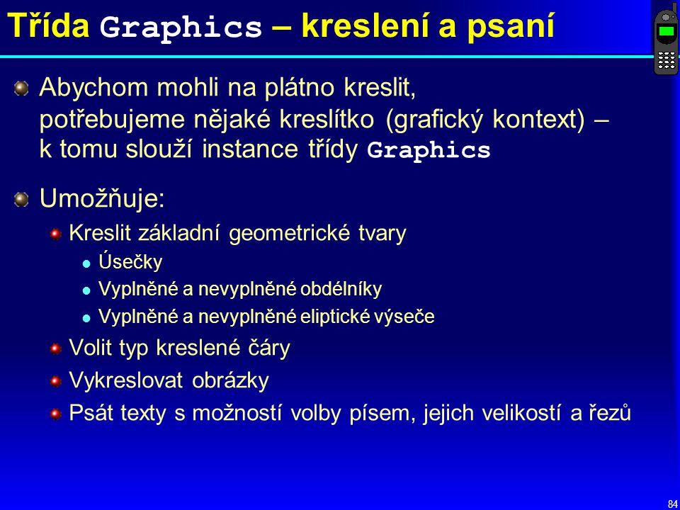 Třída Graphics – kreslení a psaní