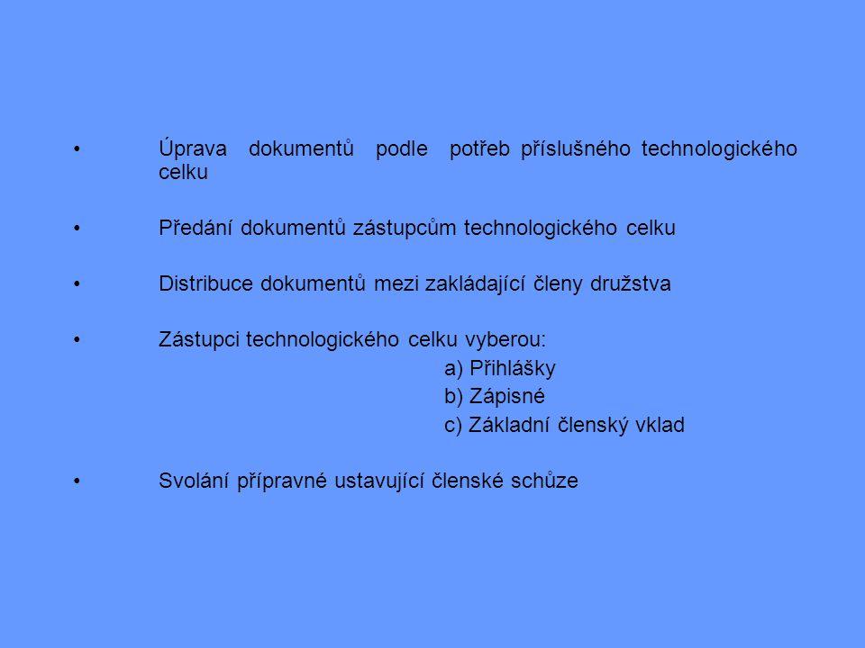 Úprava dokumentů podle potřeb příslušného technologického celku