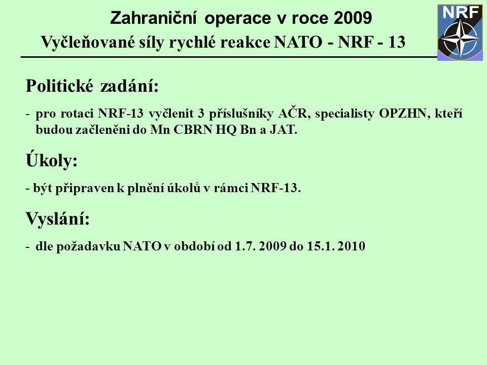 Politické zadání: Úkoly: Vyslání: Zahraniční operace v roce 2009
