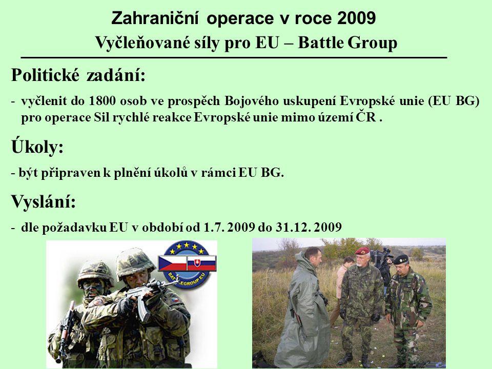 Zahraniční operace v roce 2009 Vyčleňované síly pro EU – Battle Group