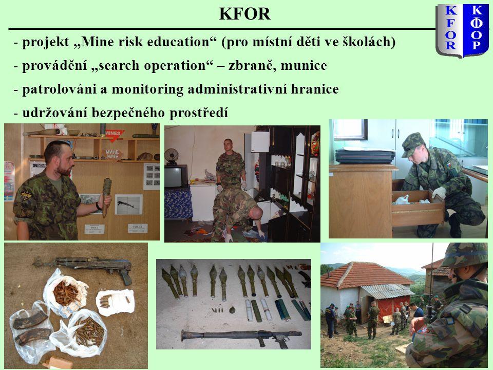 """KFOR projekt """"Mine risk education (pro místní děti ve školách)"""