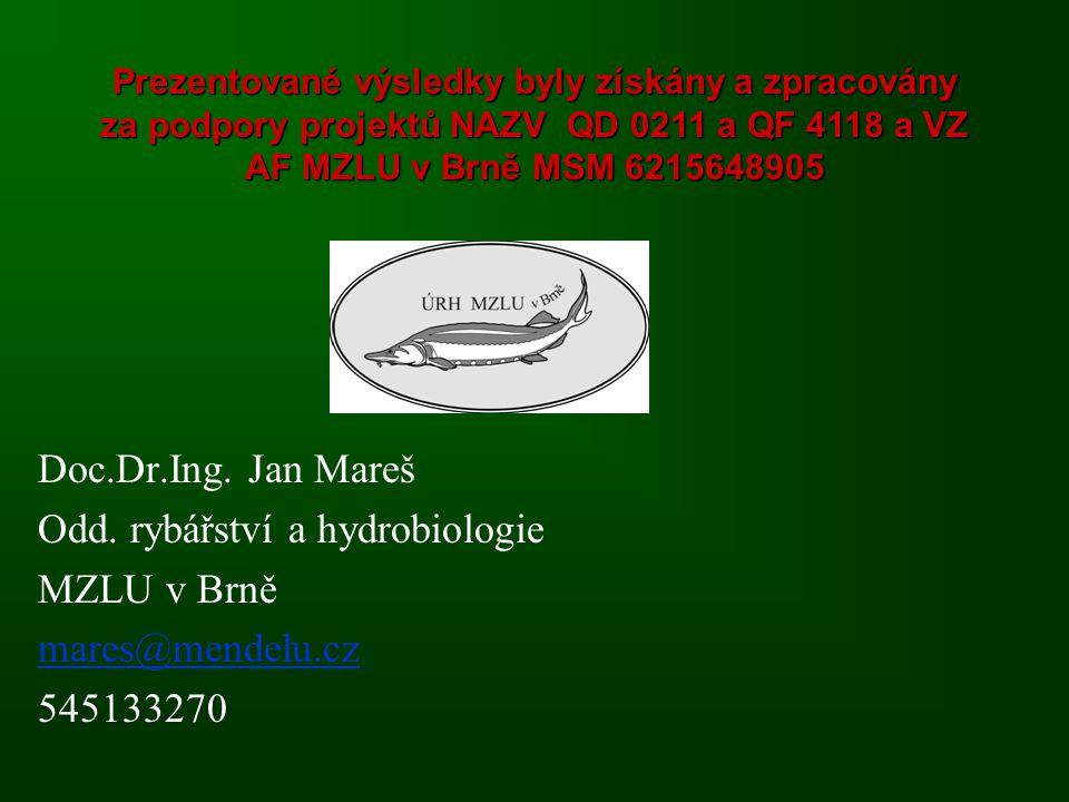 Odd. rybářství a hydrobiologie MZLU v Brně mares@mendelu.cz 545133270