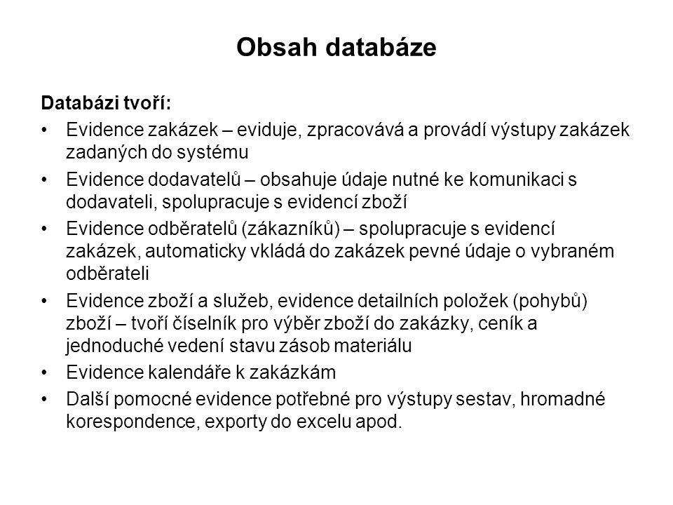 Obsah databáze Databázi tvoří: