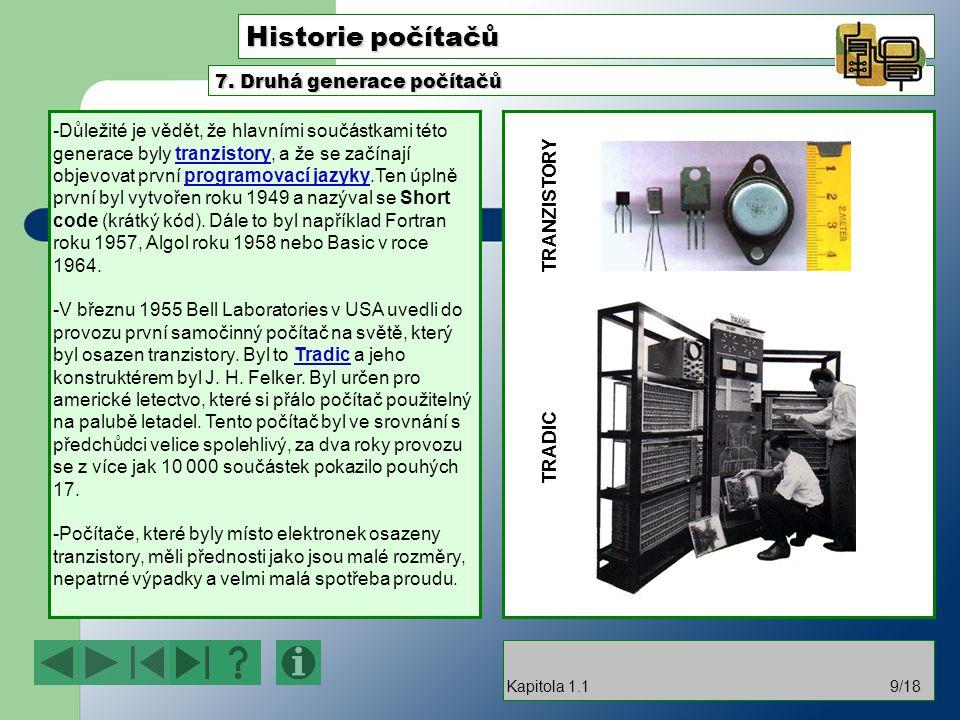 Historie počítačů 7. Druhá generace počítačů