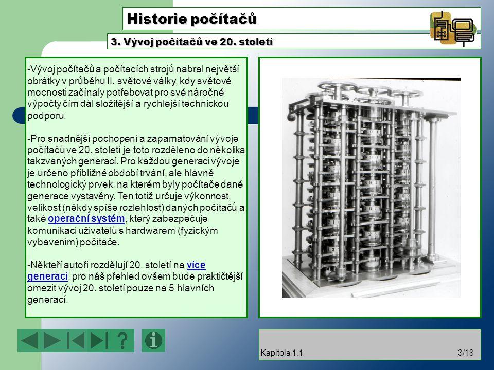 Historie počítačů 3. Vývoj počítačů ve 20. století