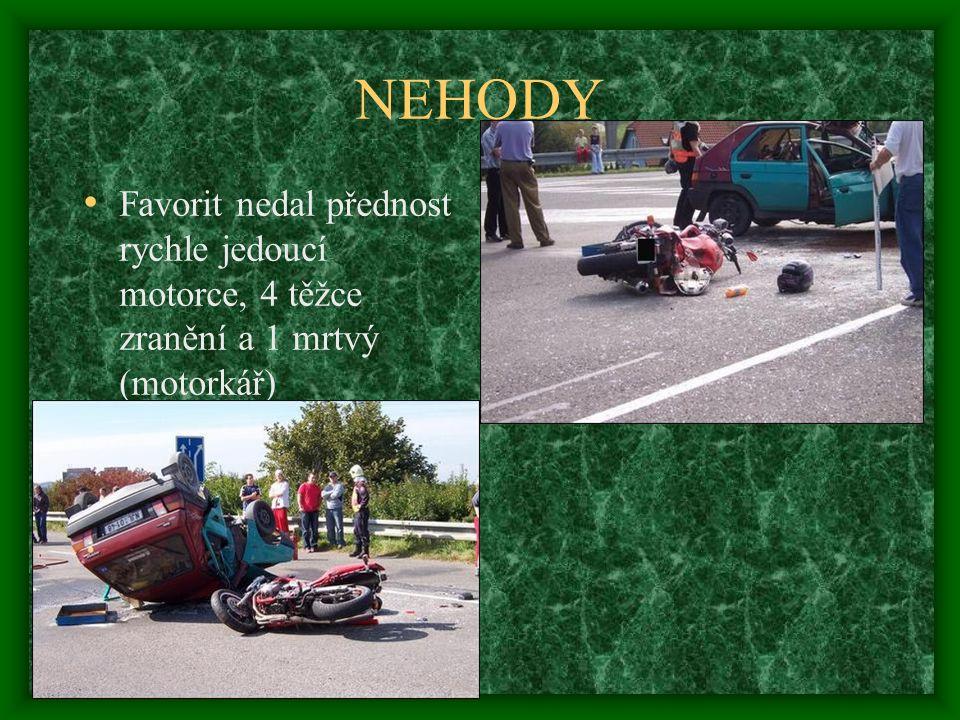 NEHODY Favorit nedal přednost rychle jedoucí motorce, 4 těžce zranění a 1 mrtvý (motorkář)
