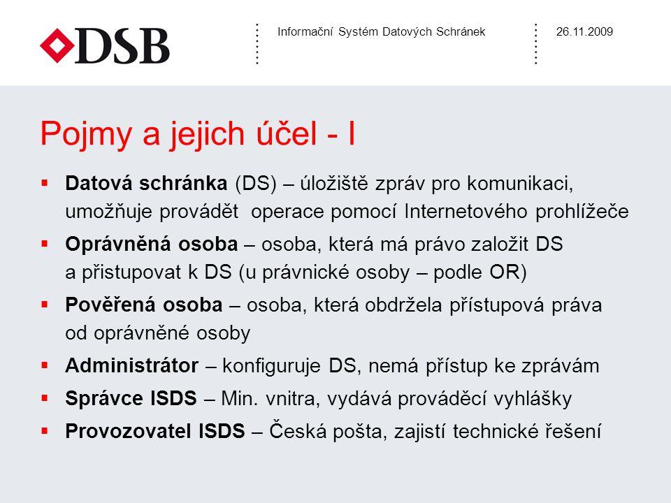 Pojmy a jejich účel - I Datová schránka (DS) – úložiště zpráv pro komunikaci, umožňuje provádět operace pomocí Internetového prohlížeče.