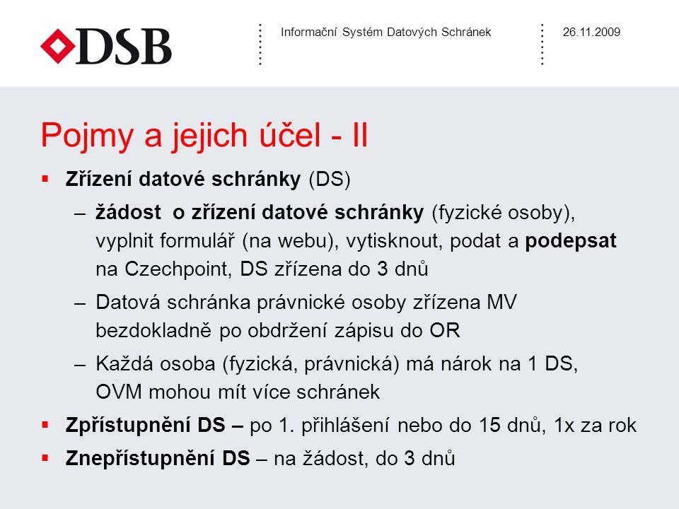 Pojmy a jejich účel - II Zřízení datové schránky (DS)