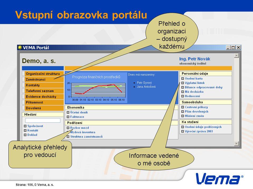 Vstupní obrazovka portálu
