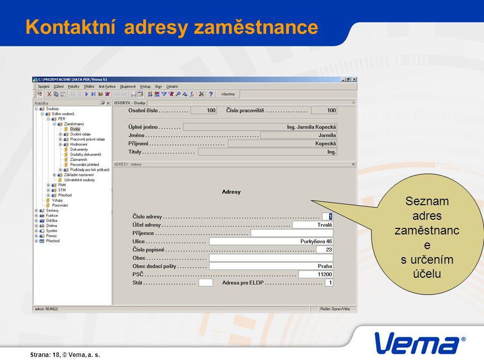 Kontaktní adresy zaměstnance
