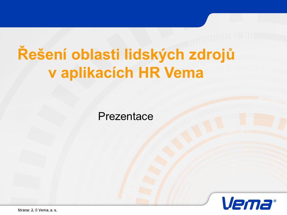 Řešení oblasti lidských zdrojů v aplikacích HR Vema