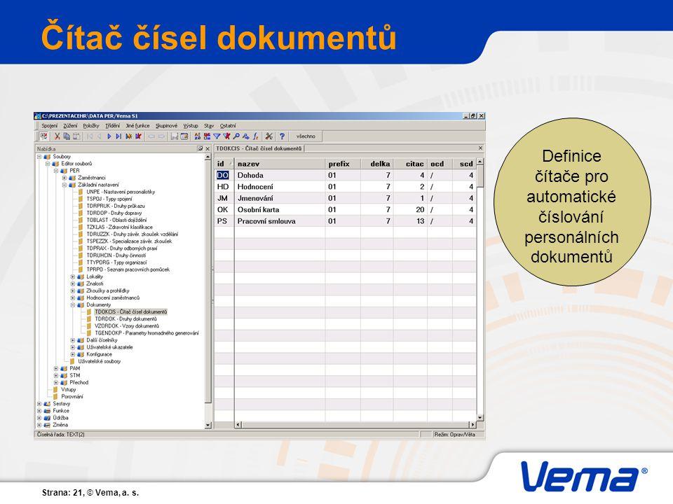 Čítač čísel dokumentů Definice čítače pro automatické číslování