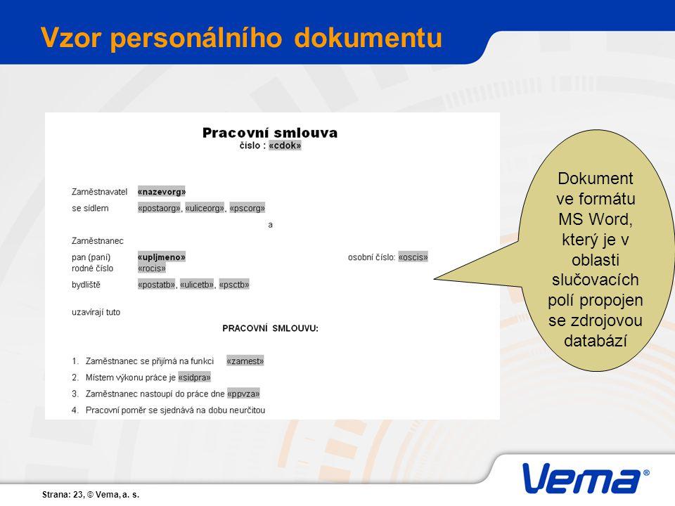 Vzor personálního dokumentu