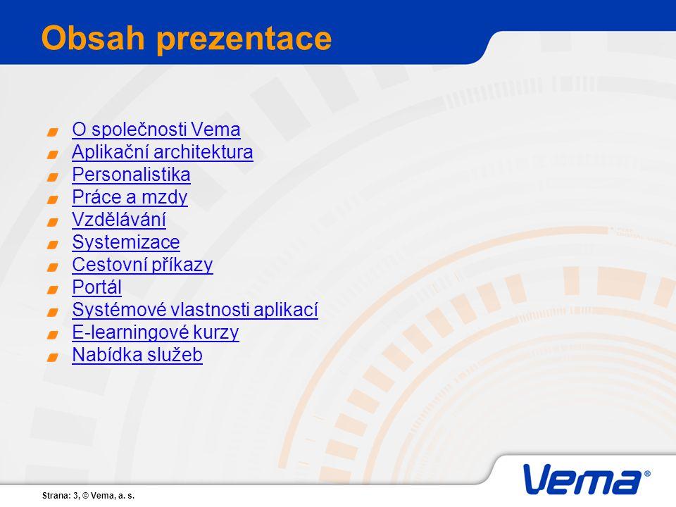 Obsah prezentace O společnosti Vema Aplikační architektura