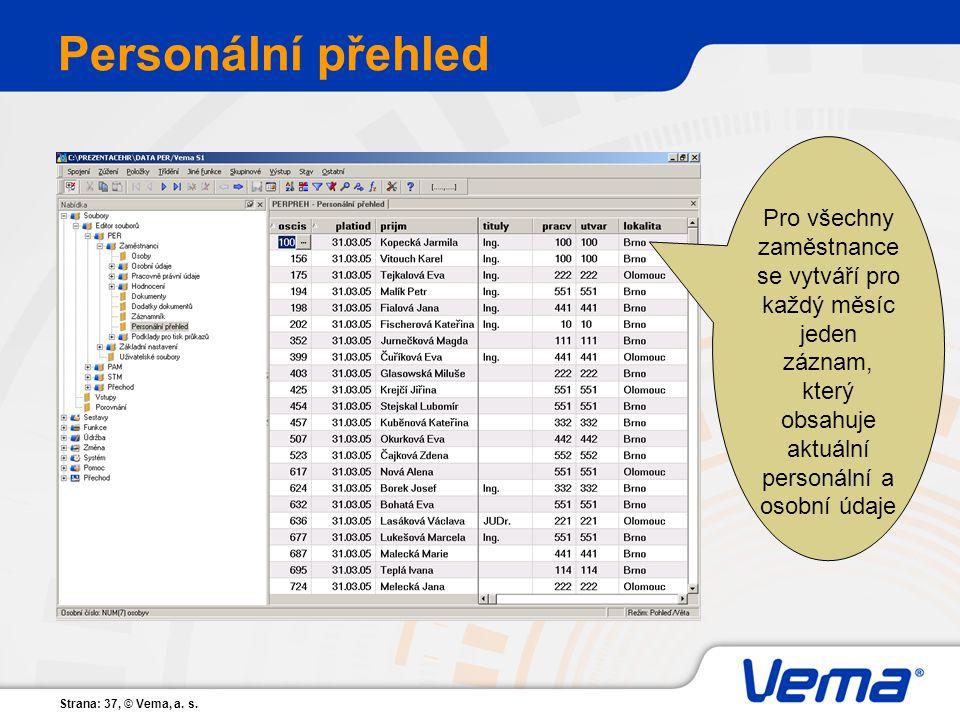 Personální přehled Pro všechny zaměstnance se vytváří pro každý měsíc jeden záznam, který obsahuje aktuální personální a osobní údaje.