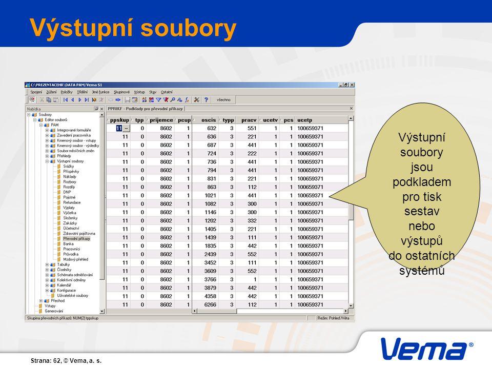 Výstupní soubory Výstupní soubory jsou podkladem pro tisk sestav
