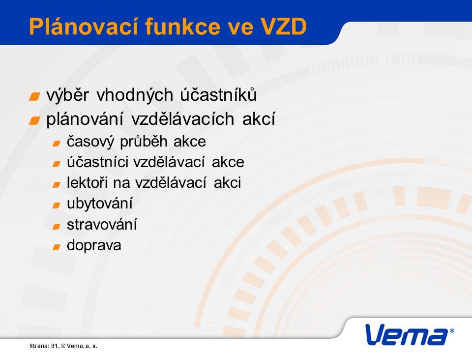 Plánovací funkce ve VZD