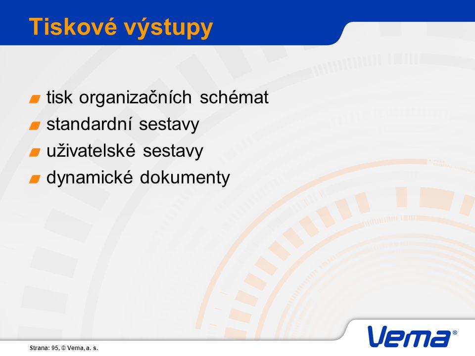 Tiskové výstupy tisk organizačních schémat standardní sestavy