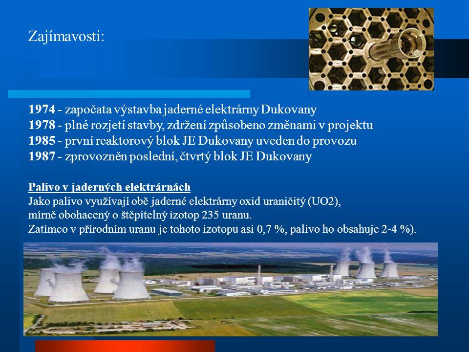 Zajímavosti: 1974 - započata výstavba jaderné elektrárny Dukovany
