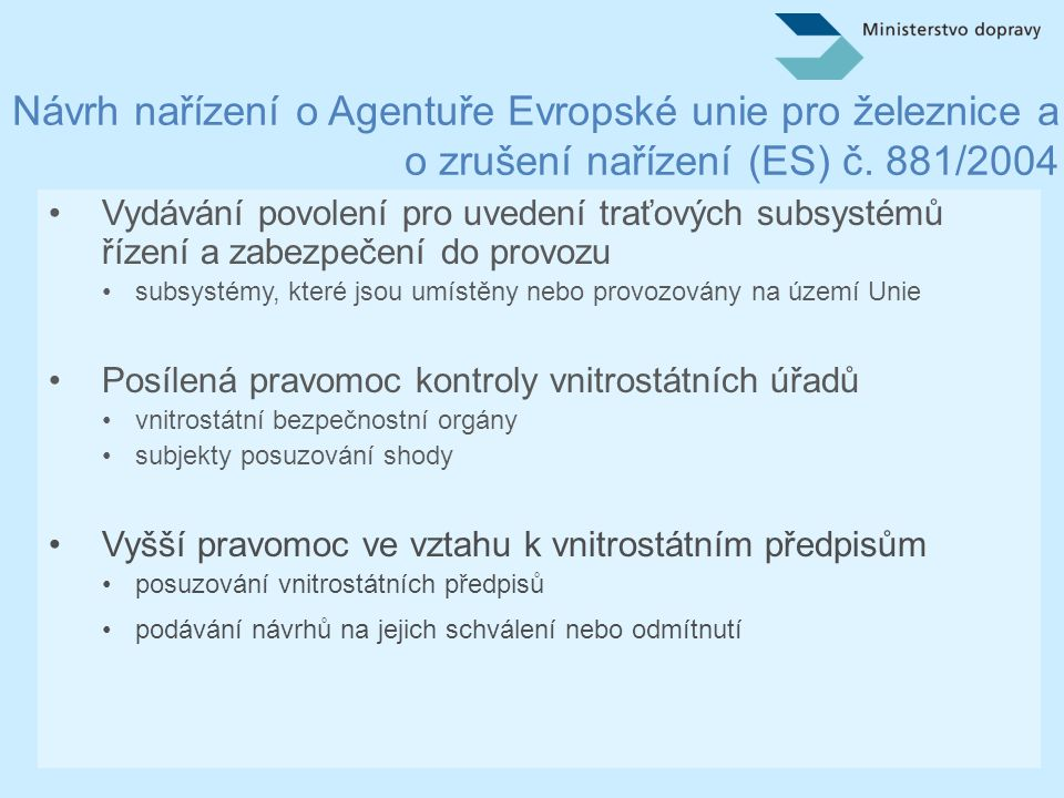 Návrh nařízení o Agentuře Evropské unie pro železnice a o zrušení nařízení (ES) č. 881/2004