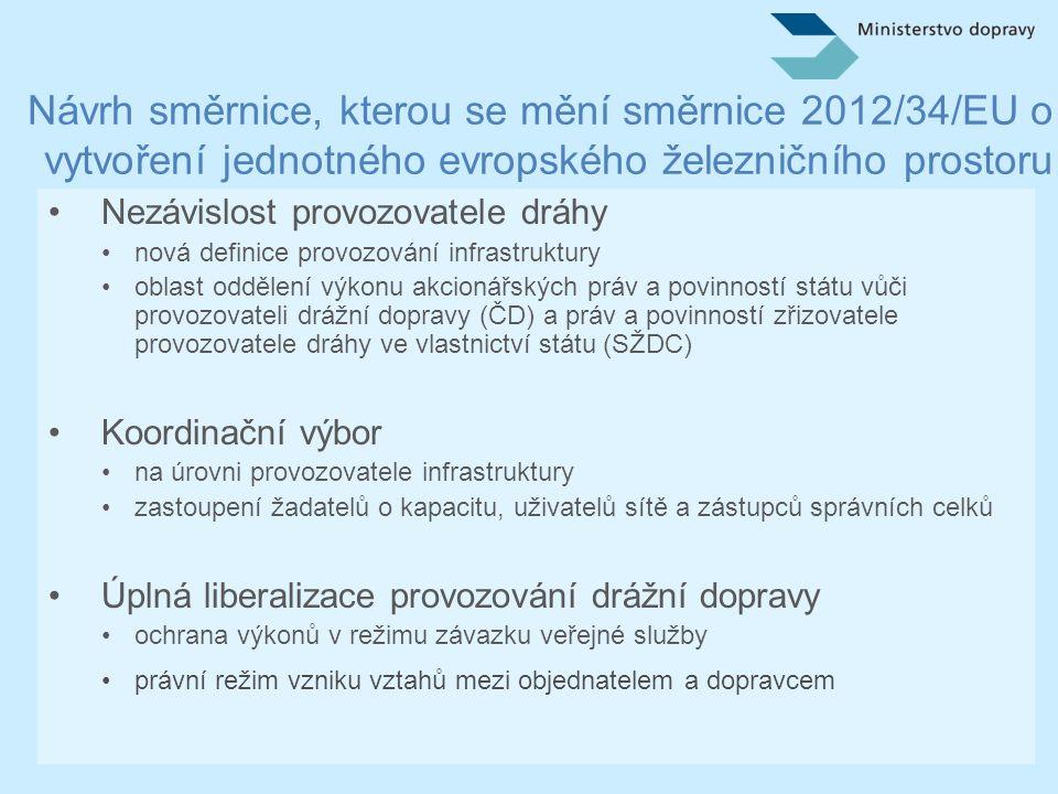 Návrh směrnice, kterou se mění směrnice 2012/34/EU o vytvoření jednotného evropského železničního prostoru