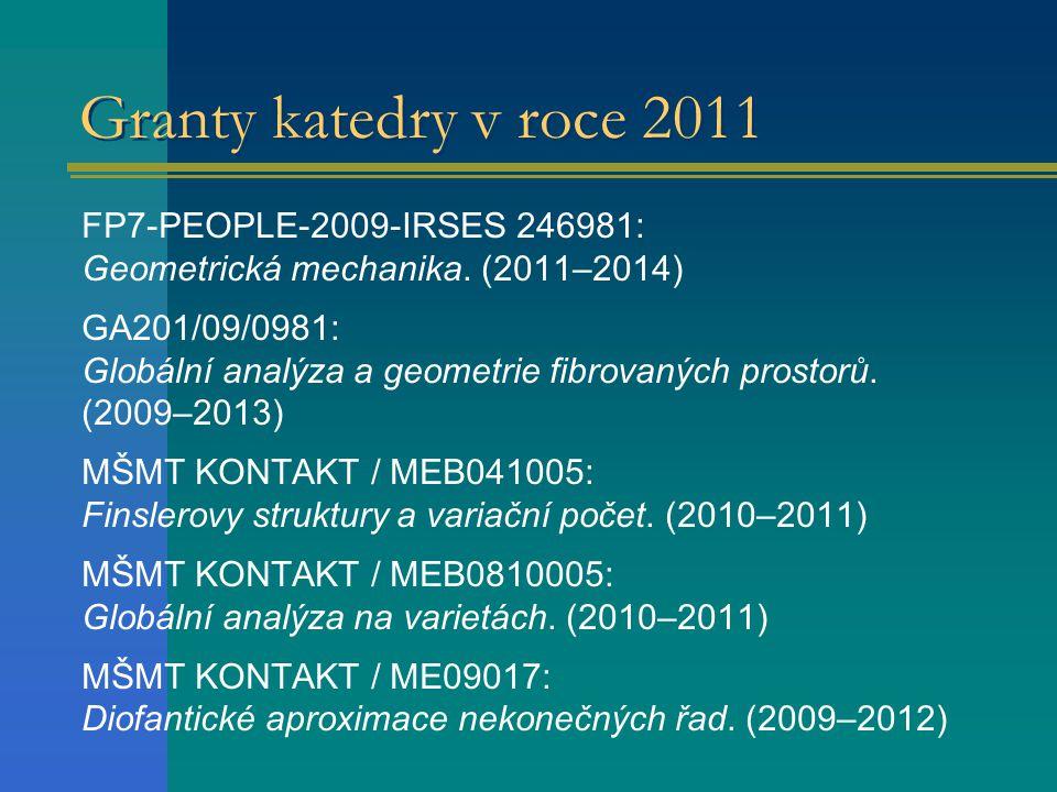 Granty katedry v roce 2011 FP7-PEOPLE-2009-IRSES 246981: