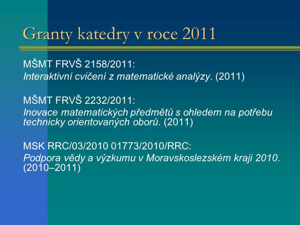 Granty katedry v roce 2011 MŠMT FRVŠ 2158/2011: