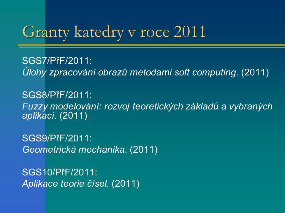 Granty katedry v roce 2011 SGS7/PřF/2011: