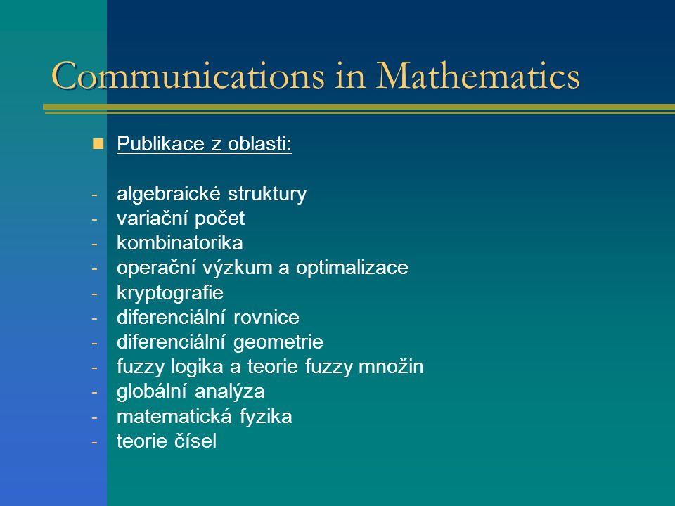 Communications in Mathematics