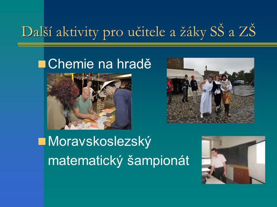 Další aktivity pro učitele a žáky SŠ a ZŠ