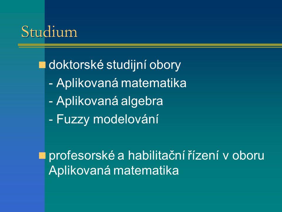 Studium doktorské studijní obory - Aplikovaná matematika