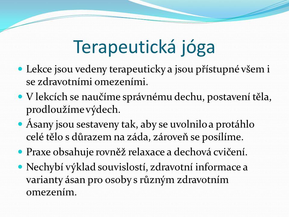 Terapeutická jóga Lekce jsou vedeny terapeuticky a jsou přístupné všem i se zdravotními omezeními.
